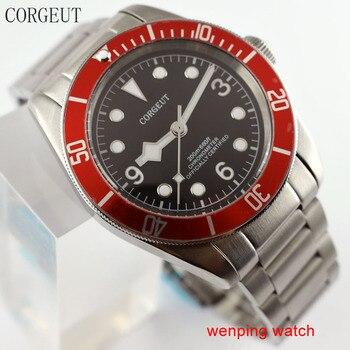 41mm Corgeut black dial luminous marks Sapphire Glass Automatic men watch W2532