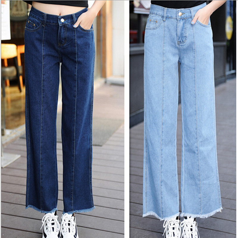 #0006 2016 Fashion Ladies Ankle Length Womens Loose Palazzo Wide Leg Pants Burr Flash Boyfriend Jeans Size 26-32 Free Shipping