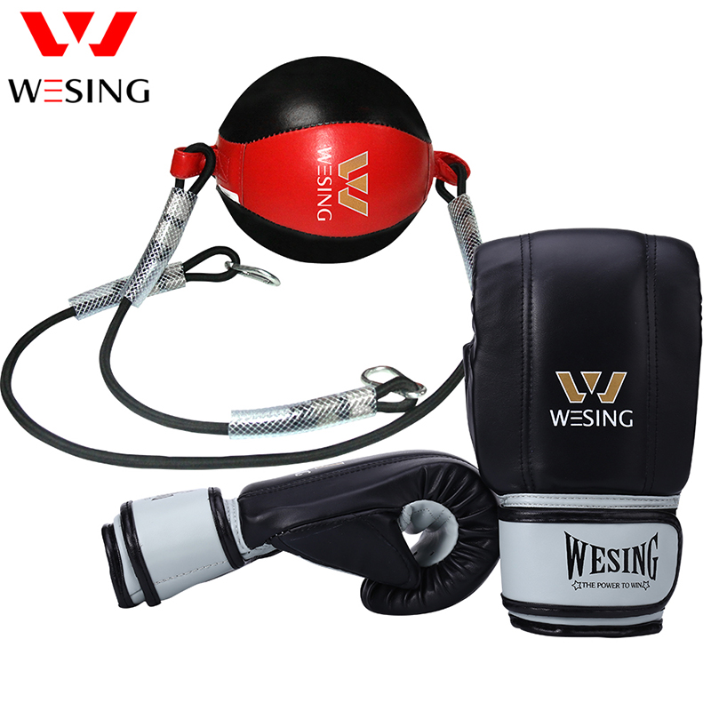 Wesing Leather Boxing Ball,Speed Dodge Ball Double End Gym MMA Boxing  Sports Punch Bag Floor to Ceiling Rope Workout