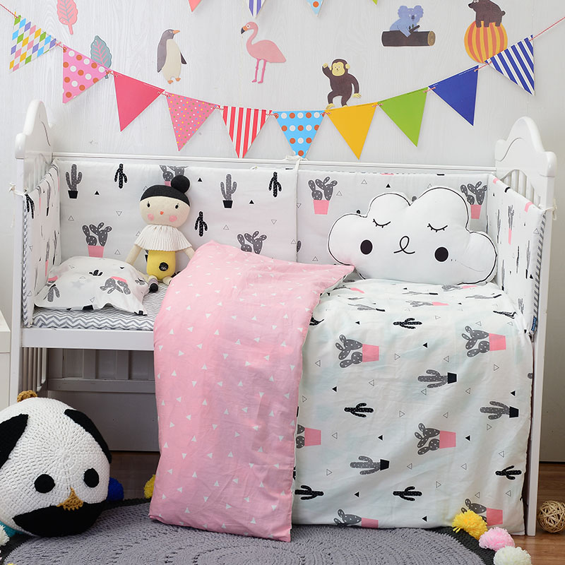 Muslinlife Lovely Cactus Triangle Baby Gril Crib Bed Bumpers