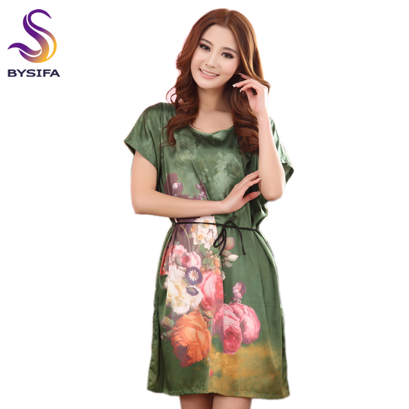 Summer Ladies Silk   Nightgown   Sleepwear Large Size Women's Sleep Lounge Chinese Style Flower Stretch Satin   Nightgowns     Sleepshirts