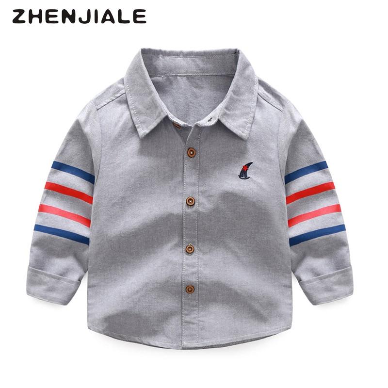 Spring Boys clothing Camisa de algodón de manga larga a rayas Camisa - Ropa de ninos