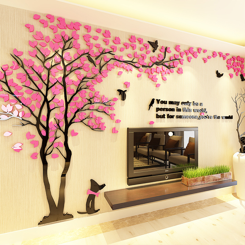 Large 3d Diy Acrylic Mirror Wall Stickers Art Mural Wall