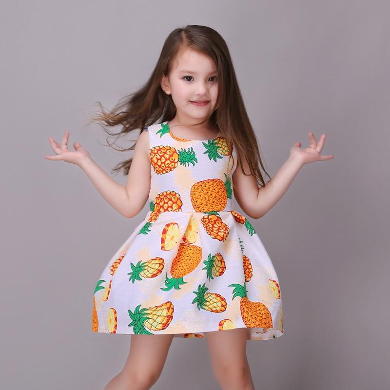 35fae576b3c6 Fruit Printing Girls Dresses 2016 Baby Girls Frocks Designs Girls Prom  Princess Costume Child 2-9 10 13 14 Year Olds Girls