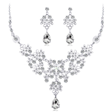 цена на 3 Colors Jewelry Sets Crystal Water Drop Pendant Wedding Bridal Necklace Earrings Jewelry 2 Piece Set  for Women Girl