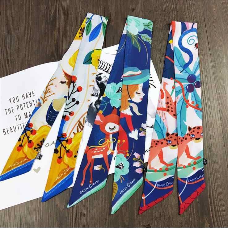 2019 Korea Sempit Yang Panjang Tas Strip Handuk Kecil Dasi Desain Hati Syal Wanita Syal Fashion Wanita Syal Cetak Wanita Syal Sutra