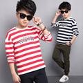 Children Clothes Boys T Shirt 5 6 7 8 9 10 11 12 13  14 15t  Spring Boys T Shirt Long Sleeve Striped Boys Tops Casual Clothes