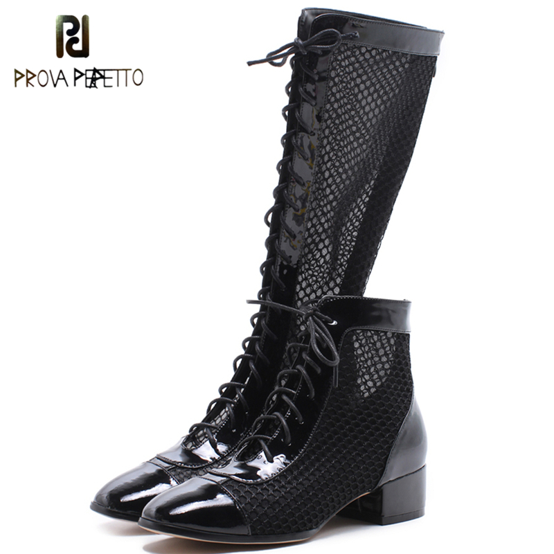 Prova Perfetto Cow Leather Mesh Heels Women Boots Short and Long Lace Up Boots Chunky Hollow Out Women Shoes Top Chic 2018 Boots chic scoop collar totem pattern lace spliced tank top for women