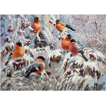 DIY 5D Animal Red Birds winter picture mosaic home decor diamond painting cross stitch  embroidery Christmas Gift 40x30cm