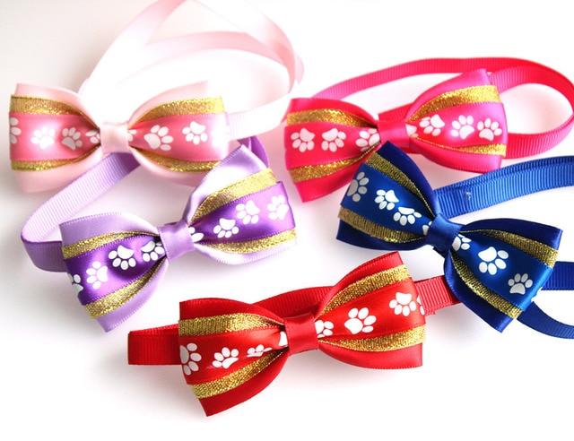 Good Ribbon Bow Adorable Dog - 60PCS-Pet-Dog-Bowties-Footprints-Pattern-Ribbon-dog-Bow-Tes-Polyester-Neckties-Cute-Dog-Holiday-Products  Graphic_216745  .jpg
