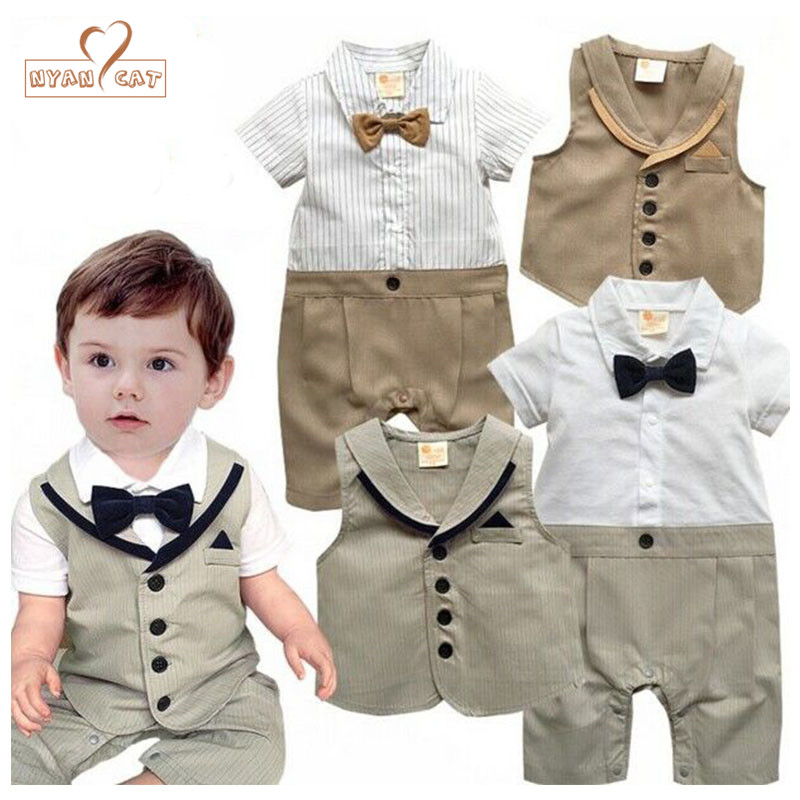 Nyan Cat Baby clothes 2pcs short sleeve bow tie romper+vest baby boy gentlemen summer infant toddler suit wedding party costume одежда на маленьких мальчиков