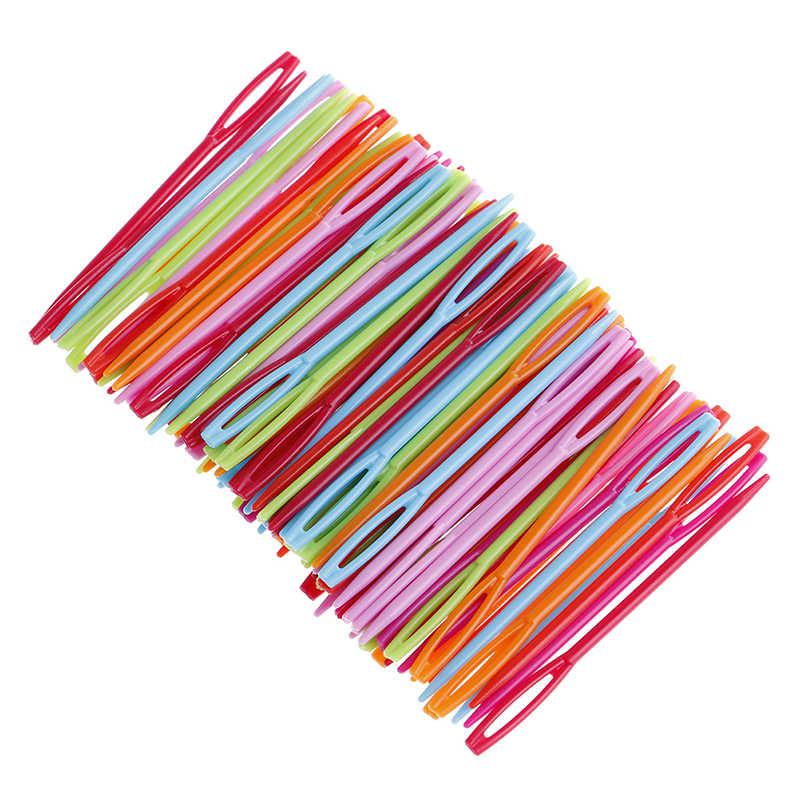 100Pcs 20pcs Crianças DIY Ferramentas de Tecelagem Camisola 7cm De Plástico Agulhas De Tricô Agulhas de Crochê de Fios De Lã De Tapeçaria