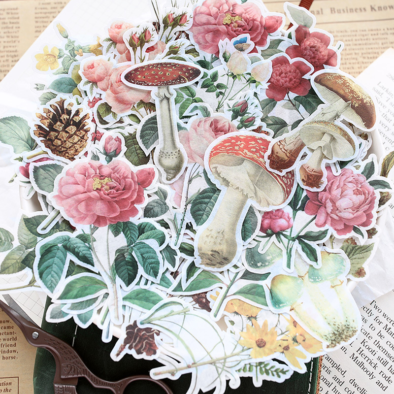 60pcs/pack Romantic flowers vintage letter paper magic map plant illustrated Decorative Stickers DIY Scrapbooking Diary Stickers60pcs/pack Romantic flowers vintage letter paper magic map plant illustrated Decorative Stickers DIY Scrapbooking Diary Stickers