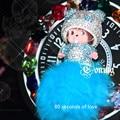 Monchichi keychain 8 cm real de Cristal pele de raposa pom pom monchhichi bonecas pompom sleutelhanger cadeia mulheres charme saco chave do carro pingente
