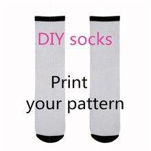 Factory Custom Made 3D Printed Long Socks Fashion DIY Funny