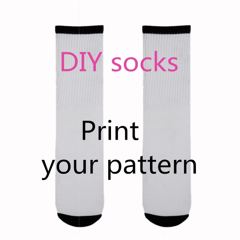 Hot Factory Custom Face Socks Fashion DIY 3D Print Logo Design Long Socks Men Women Casual Cotton Gift Long Sock Free Shipping