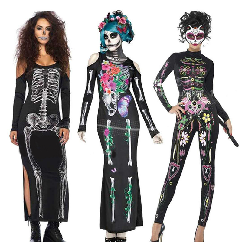 High-quality new <font><b>Halloween</b></font> <font><b>sexy</b></font> adult woman's clothing conjoined <font><b>dress</b></font> Devil vampire clothes tights <font><b>dress</b></font> ball horror bone equip image