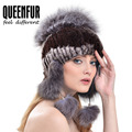 QUEENFUR Genuine Rex Rabbit Fur Cap With Fox Fur Ball Hat 2016 Winter New Fashion Real Knitted Fur Super Elastic Headgear