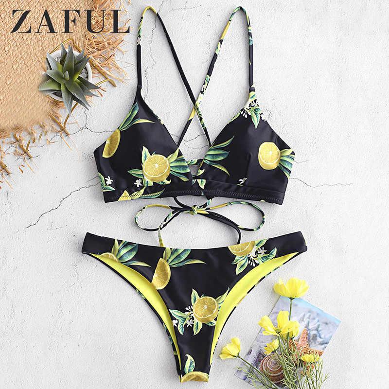 Zaful Orange Fanta Halter Bikini Set Wanita Segitiga Kembali Renda Dua Potong Baju Renang 2019 Gadis Pantai Baju Renang Pakaian Renang