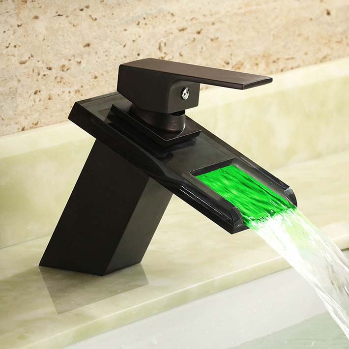 LED waterfall Bathroom Faucets sink mixer water tap Oil Rubbed Bronze Vessel single Hole/Handle Taps with black  glass spout