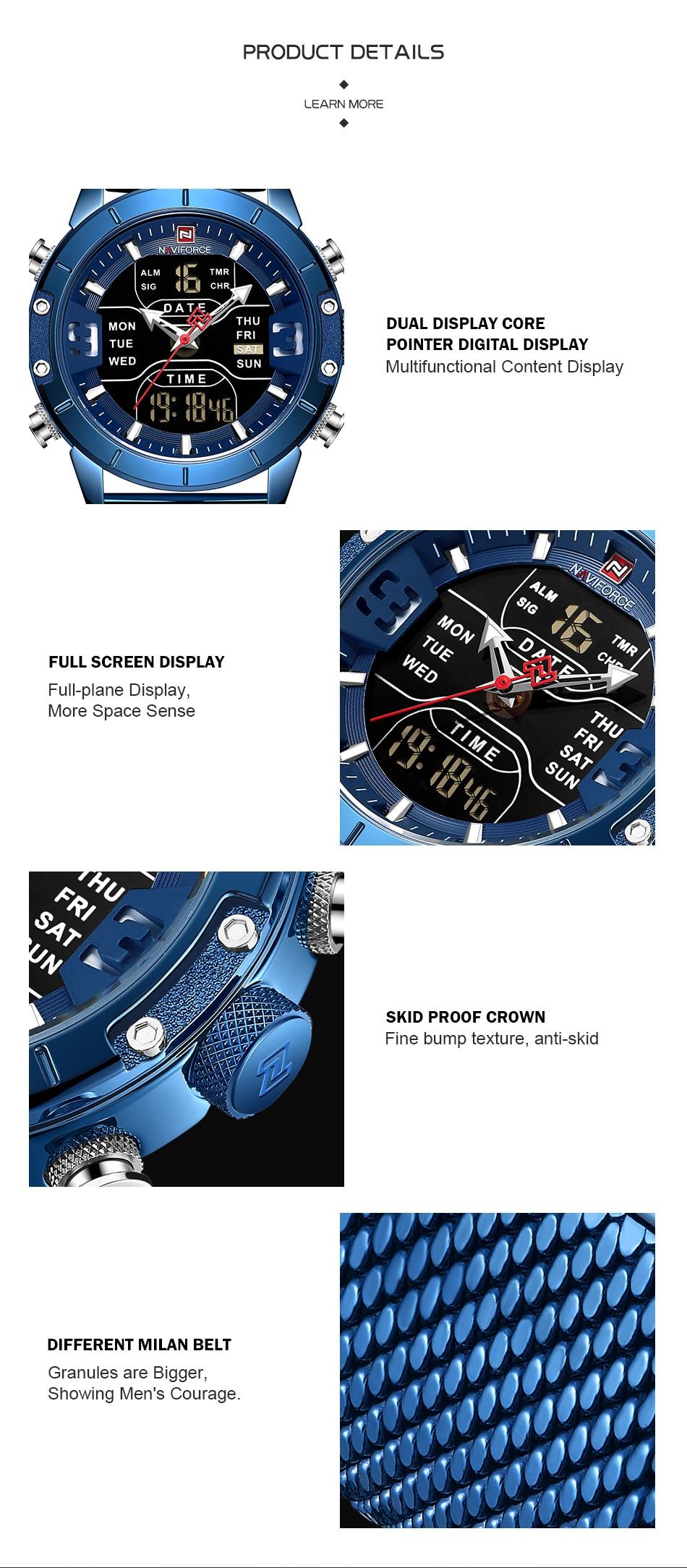 Naviforce Watch Men Top Brand Luxury Army Military Stainless Steel Mesh Mens Wristwatch Waterproof Digital Quartz Sports Watches (4)