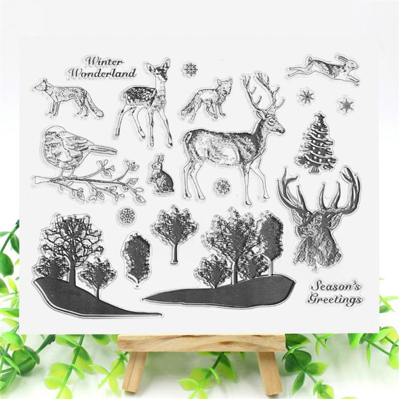 Elk/Gift Box/Blessing Word/Owl/Fashion Girl Transparent Silicone Stamps Clear Stamp for Scrapbooking DIY Photo Album Diary Book angel and trees clear stamp variety of styles clear stamp for diy scrapbooking photo album wedding gift cl 163