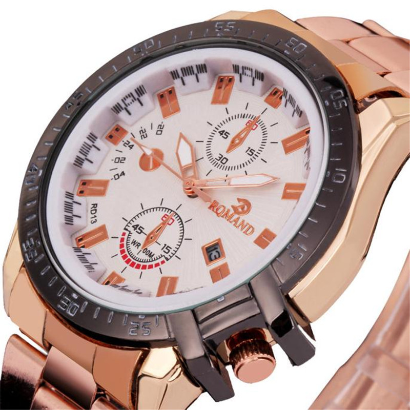Paradise 2016 Bestselling Luxury Mens Dial Gold Stainless Steel Date Quartz Analog Sport Wrist Watch Free Shipping wholesale paradise 2016 amazing luxury fashion mens date stainless steel quartz analog watches wrist watch free shipping apr22