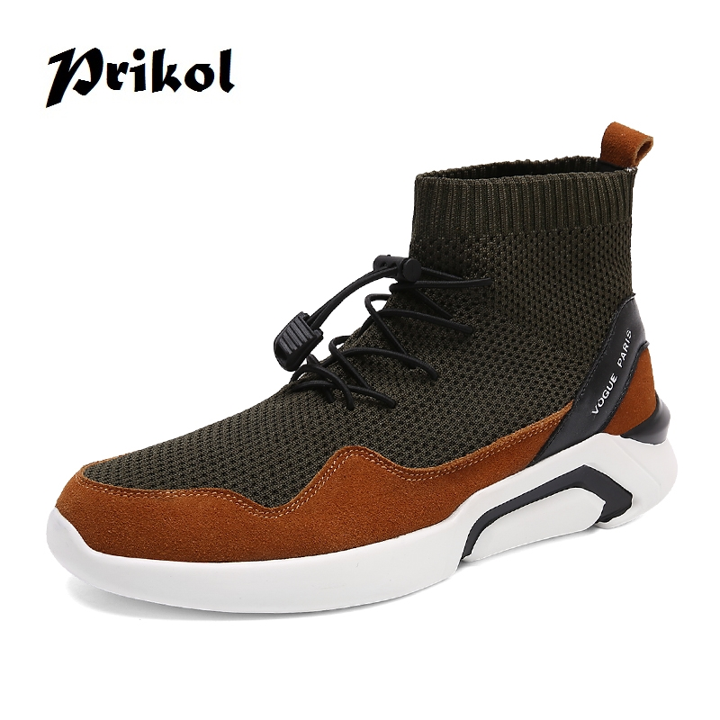 Prikol Luxury Brand High Top Men Running Shoes Soft Leather Sports Man Sock Shoes Wearable Sneaker Zapatillas Calcado Cool