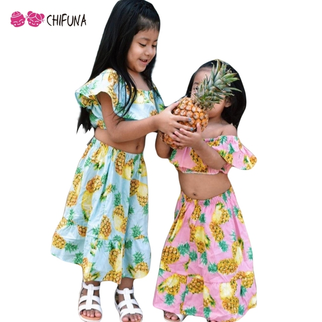 f7221836d1 chifuna Baby Girls Summer Clothing Set 2018 Pineapple Print Off Shoulder Top +Skirt Beach Style Children Clothes Kids 2pcs Sets