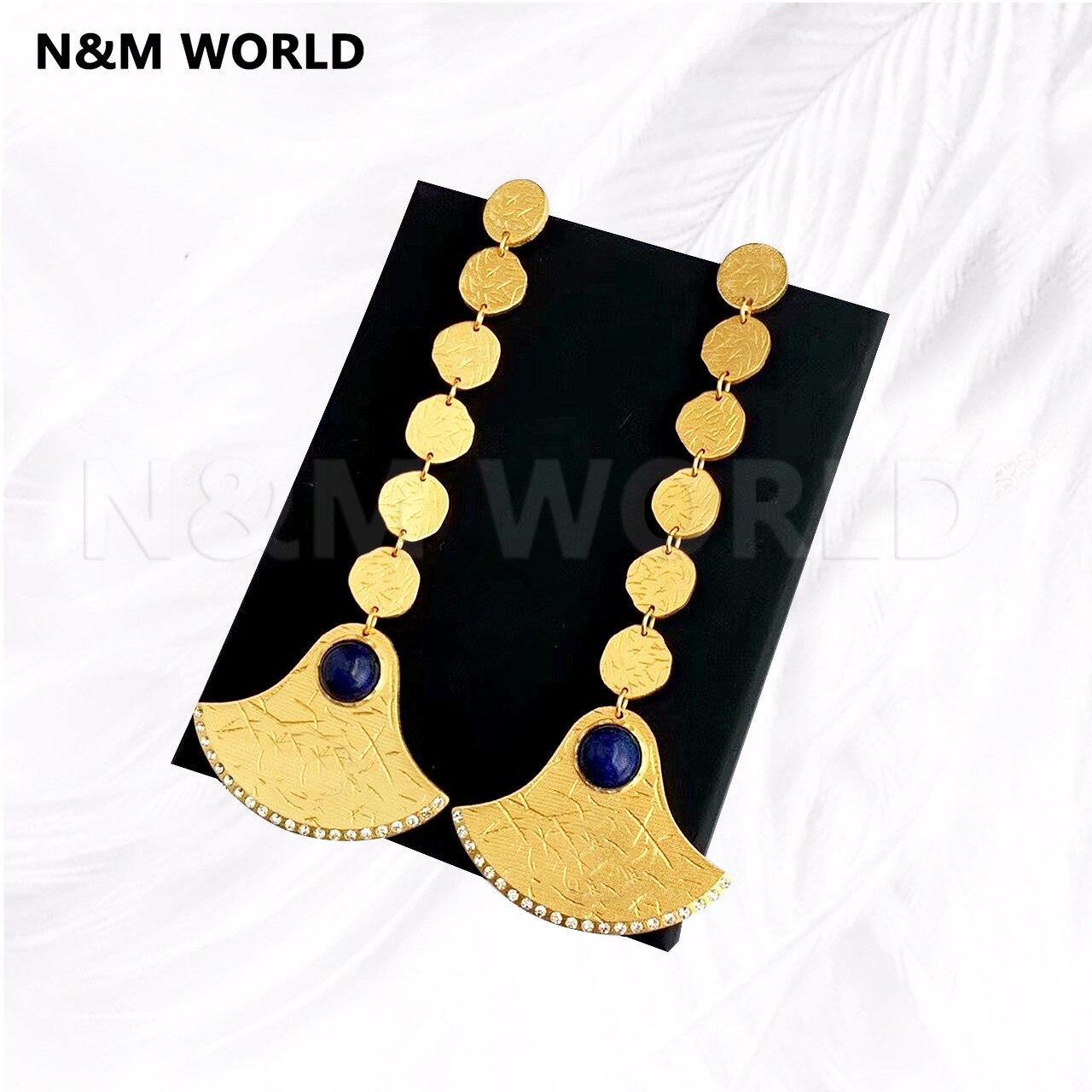 Mode de luxe en métal antique égyptien Design demi-lune creux lettres gland Long Dangle boucles d'oreilles 2019 bijoux cadeau