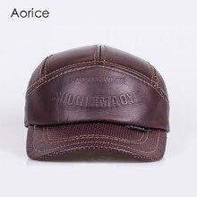 Aorice HL033 Mens Genuine Leather Baseball Cap Sports Wear Printed Hat Biker Trucker Brand New Sport Caps/hats