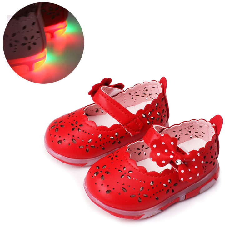 0-3Y Girls Shoes Princess Bow Soft Young Children's Shoes Summer Cute Girls Shoes Children's Lightweight LED Light Shoes