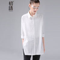 Toyouth Shirts 2017 Spring New Women Jacquard Geometrical Turn Down Collar Cotton Blouse
