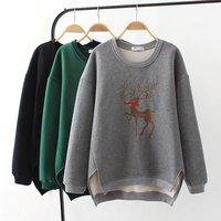 Plus Size 4XL With Velvet Deer Embroidered Hoodies Women Sweatshirt Cotton Long Sleeve 2017 Autumn Winter