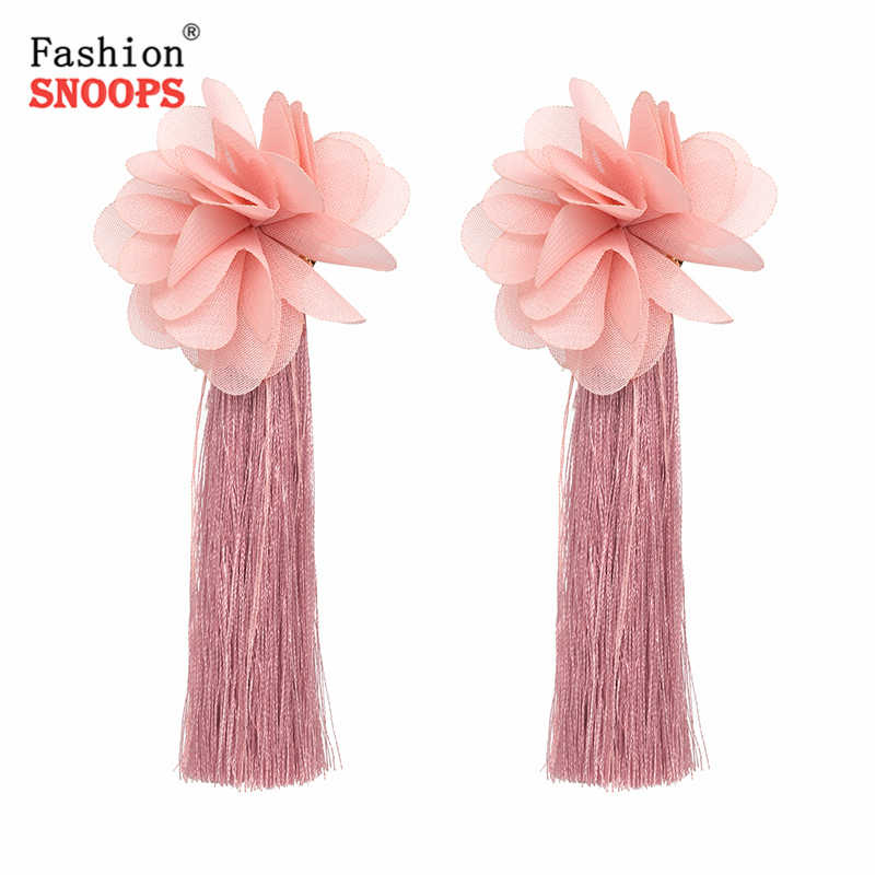 Trendy Summer Korean Elegant Drop Earring Flower Long Tassel Earrings For Women Jewelry Pendientes 2019