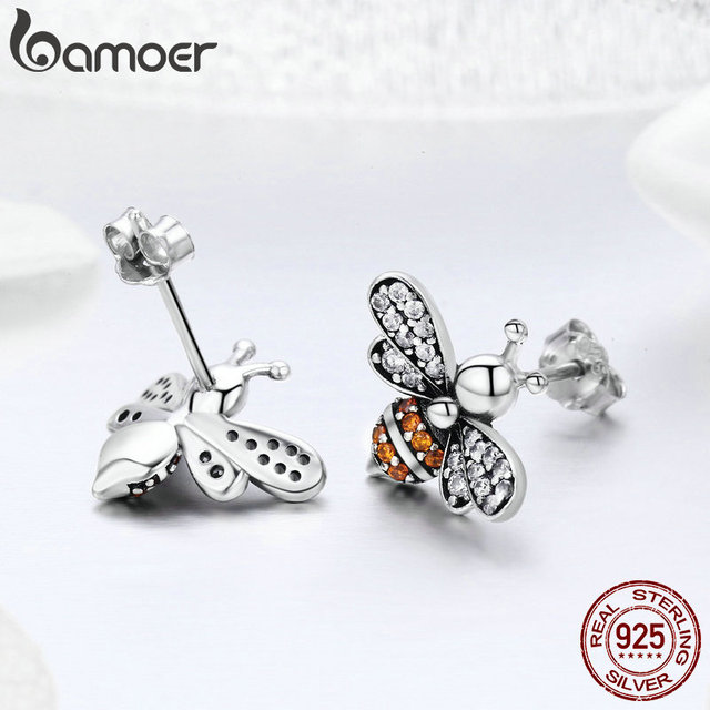925 Sterling Silver Bee Exquisite Stud Earrings 3