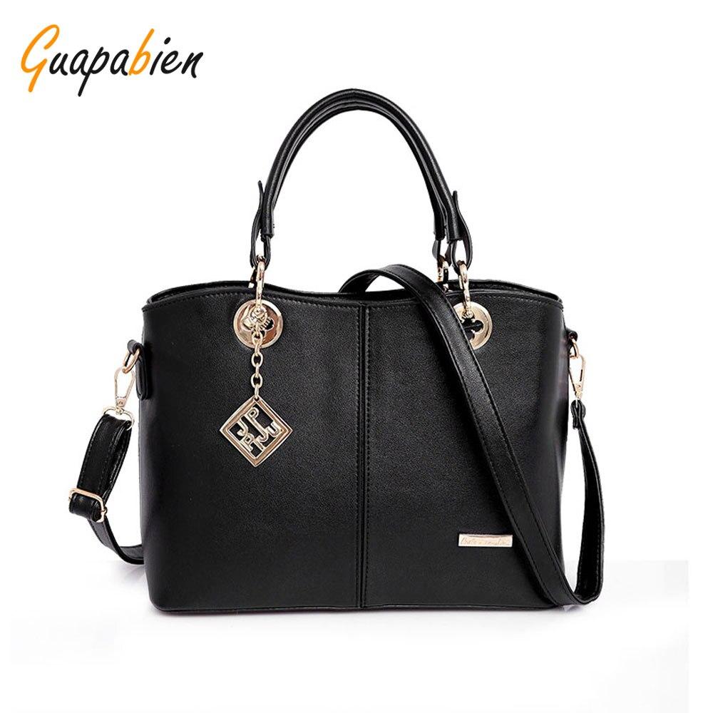 Guapabien Spring Autumn Women Handbag Fashion Leather Women Big Shoulder Bags 7