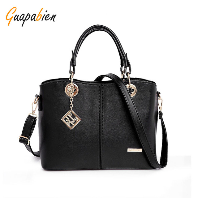 Guapabien Spring Autumn Women Handbag Fashion Leather Women Big Shoulder Bags 7 Color Zipper Ladies Bag Bolsas Femininas