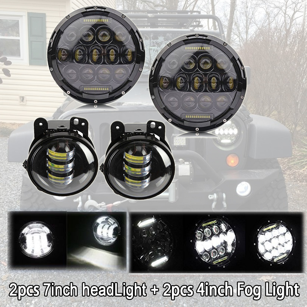 2 pcs 7inch led headlight with 5d lens drl white for for hummer h1&h2 patrol y60 jeep wrangler jk tj cj 2pcs 75W 7 inch LED Headlight with DRL+ Pair 4 inch Fog Light Lamp Bulb fit For Jeep Wrangler JK TJ CJ Hummer Offroad Driving
