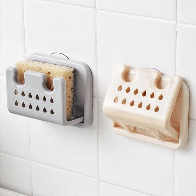 Kitchen Sink Suction Sponges Holder Foldable Soap Storage Rack Sponge Organization Bathroom Drying