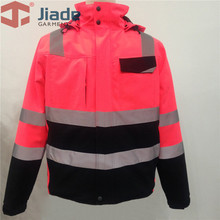 Pink Safety Jacket For Women Two Tone Hi Vis Jacket With Reflective Tapes Waterproof Jacket With Pockets