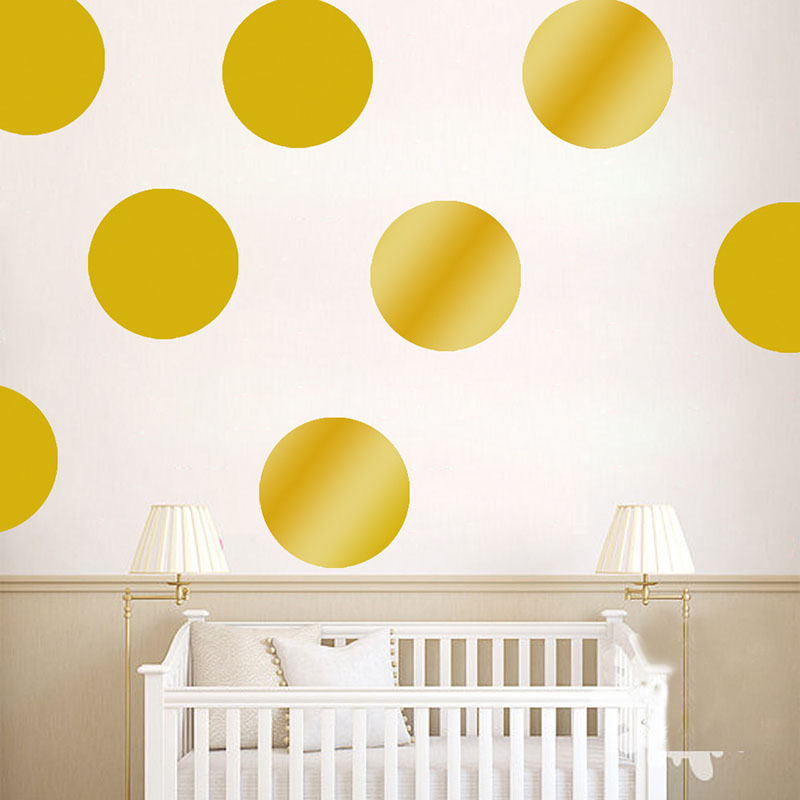 Polka dots wall stickers for kids rooms gold polka for Polka dot wall decals for kids rooms