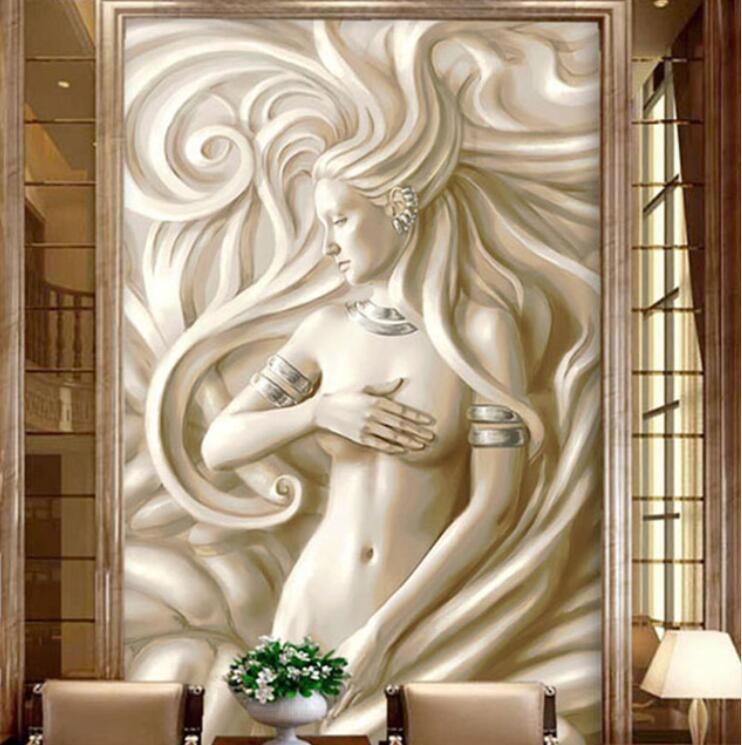 <font><b>3D</b></font> Embossed Photo <font><b>Wallpaper</b></font> Hallway <font><b>Sex</b></font> Girl Sculpture Mural European Living Room Hotel Hall Entrance Backdrop Wall Art Painting image