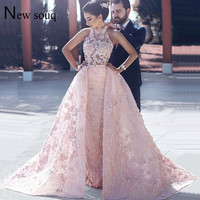 Arabic Evening Gown Pink Two Pieces Prom Dresses With Detachable Train 2019 Flower Special Fabric Wedding Party Dress Vestidos