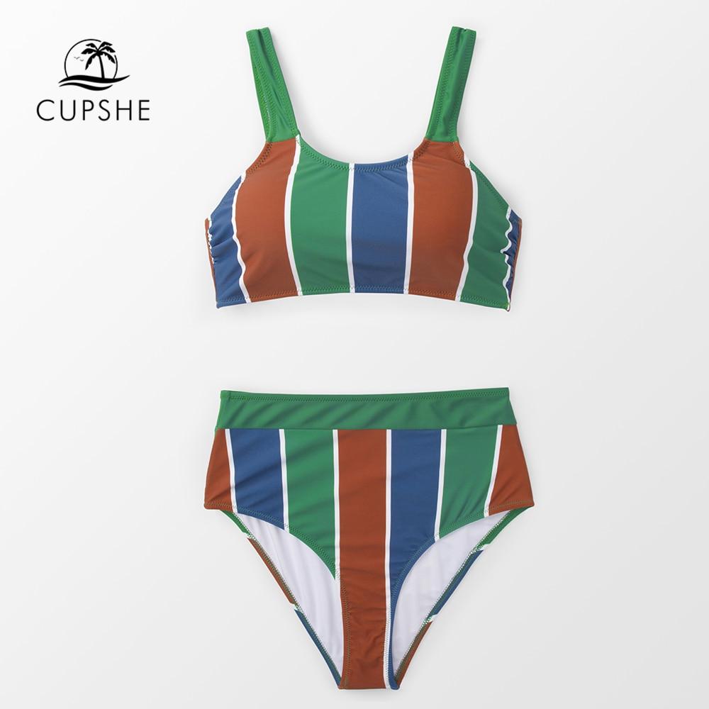 CUPSHE Stripe High-waisted Tank Bikini Sets Women Boho Two Pieces Swimsuits 2019 Girl Beach Bathing Suits SwimwearCUPSHE Stripe High-waisted Tank Bikini Sets Women Boho Two Pieces Swimsuits 2019 Girl Beach Bathing Suits Swimwear