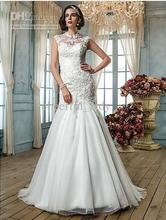 2013 - Sell High Quality Appliques Trumpet/Mermaid Neck Tulle Wedding Dress Custom Made