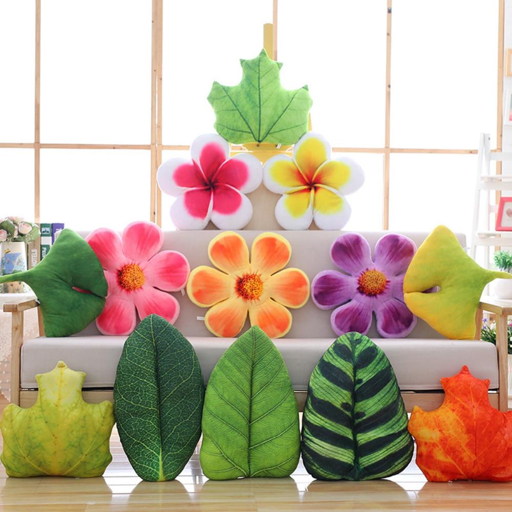Creative Plush Flowers Leaves Stuffed Decorative Pillow Natural Throw Pillow Orange/purple/pink Home Sofa Bed Cot Back Cushion Attractive Designs; Stuffed Animals & Plush Plush Pillows