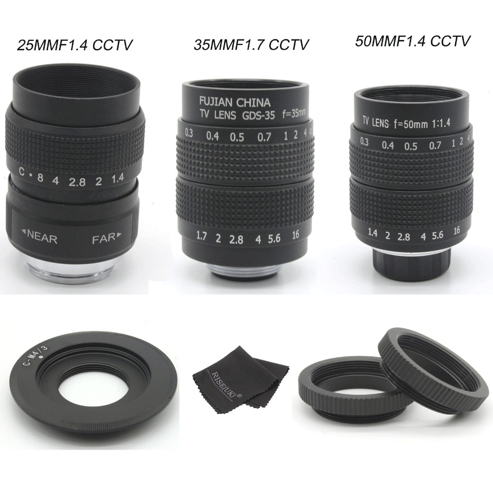цены FUJIAN 35mm F1.7 CCTV Movie camera Lens + 25mm f1.4 camera Lens + 50mmf1.4 camera Lens for M4/3 / MFT Olympus / Panasonic camera