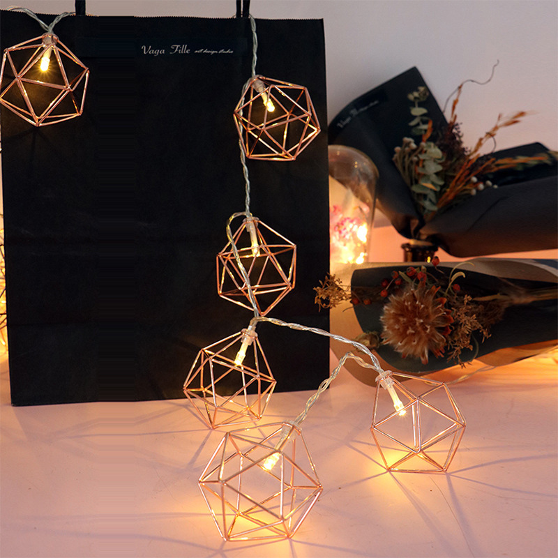 Hot 20 LED 3 Meters Wedding Xmas Outdoor Fairy Lamp Party Home Decoration Nordic Style Rose Gold Hexagonal Star Light Stringnew