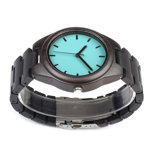 Image 4 - BOBO BIRD WI21 Ebony Wooden Mens Watch Top Brand Blue Simple Wooden Band Classic Quartz Wristwatch As Gift Accept OEM Relogio
